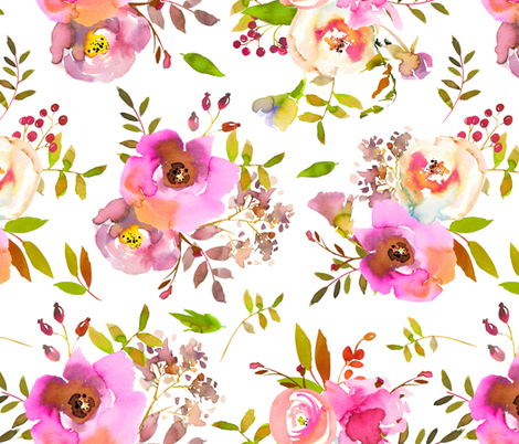 """18"""" Spring Colors Hand drawn roses and flowers fabric by utart on Spoonflower - custom fabric"""