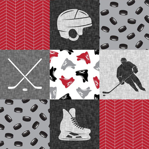 Ice Hockey Patchwork - Hockey Nursery - Wholecloth red, black, and grey - LAD19