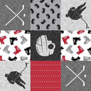 Ice Hockey Patchwork - Hockey Nursery - Wholecloth red, black, and grey - LAD19 (90)