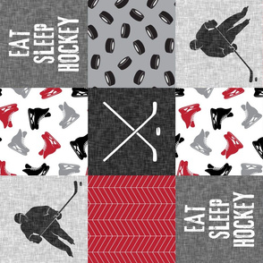 Eat Sleep Hockey - Ice Hockey Patchwork - Hockey Nursery - Wholecloth red, black, and grey - LAD19 (90)