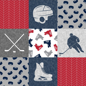 Ice Hockey Patchwork - Hockey Nursery - Wholecloth red, navy, and grey - LAD19