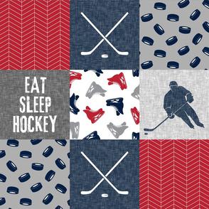 Eat Sleep Hockey - Ice Hockey Patchwork - Hockey Nursery - Wholecloth red, navy, and grey - LAD19