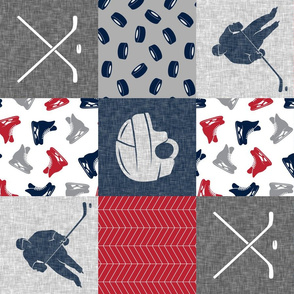 Ice Hockey Patchwork - Hockey Nursery - Wholecloth red, navy, and grey - LAD19 (90)