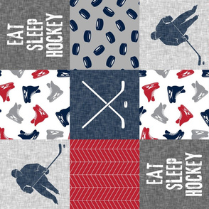 Eat Sleep Hockey - Ice Hockey Patchwork - Hockey Nursery - Wholecloth red, navy, and grey - LAD19 (90)