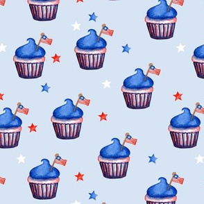 Flag Cupcakes with Stars // Link Water