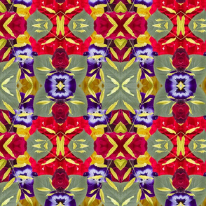 Floral Madness Pansy and Rose Pattern
