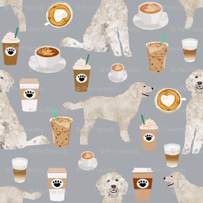 LARGE - golden doodle fabric coffee fabric latte design doodle fabric