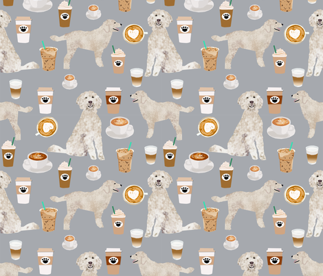 LARGE - golden doodle fabric coffee fabric latte design doodle fabric fabric by petfriendly on Spoonflower - custom fabric