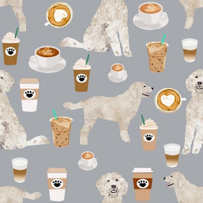 LARGE - golden doodle fabric coffee fabric latte design doodle fabric
