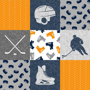Ice Hockey Patchwork - Hockey Nursery - Wholecloth orange navy and grey - LAD19