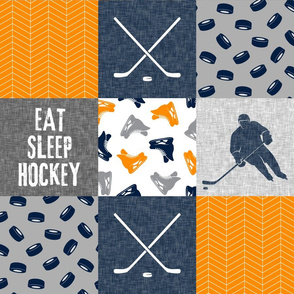 Eat Sleep Hockey - Ice Hockey Patchwork - Hockey Nursery - Wholecloth orange navy and grey - LAD19