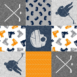 Ice Hockey Patchwork - Hockey Nursery - Wholecloth orange navy and grey - LAD19 (90)