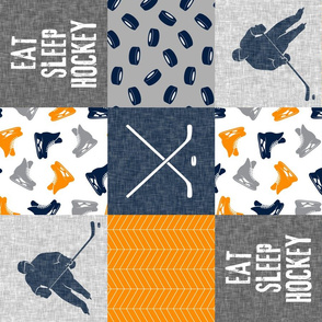 Eat Sleep Hockey - Ice Hockey Patchwork - Hockey Nursery - Wholecloth orange navy and grey - LAD19 (90)