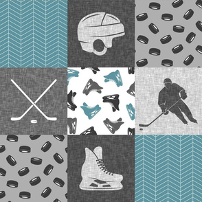 Ice Hockey Patchwork - Hockey Nursery - Wholecloth stone blue and grey - LAD19