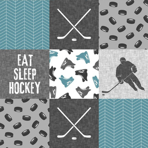 Eat Sleep Hockey - Ice Hockey Patchwork - Hockey Nursery - Wholecloth stone blue and grey - LAD19