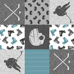 Ice Hockey Patchwork - Hockey Nursery - Wholecloth stone blue and grey - LAD19 (90)