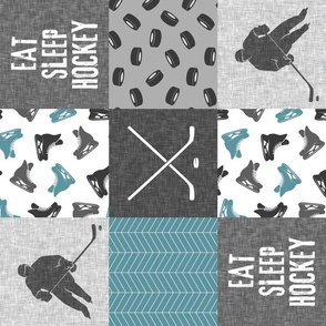 Eat Sleep Hockey - Ice Hockey Patchwork - Hockey Nursery - Wholecloth stone blue and grey - LAD19 (90)