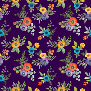 Poppy Bouquets on Plum