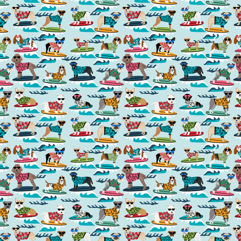 TINY - surfing dogs summer beach fun dogs  fabric by petfriendly on Spoonflower - custom fabric