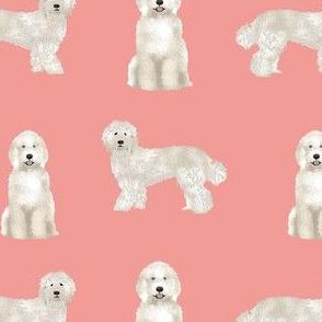 labradoodle fabric - dog fabric, dog breeds fabric, doodle dog fabric - salmon