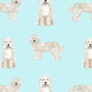 labradoodle fabric - dog fabric, dog breeds fabric, doodle dog fabric - aqua
