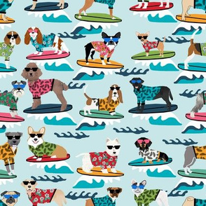 surfing dogs fabric - hang ten summer surf fabric, surfs up fabric, cute dogs fabric, dog fabric -  light blue
