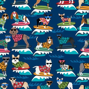 surfing dogs fabric - hang ten summer surf fabric, surfs up fabric, cute dogs fabric, dog fabric - navy