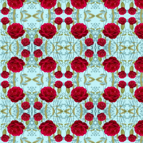 Red Roses and Green Leaves on Pastel Background