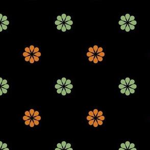 ART DECO Ditsy Pattern * orange and sage