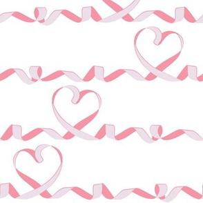 Love me tight I // white background pink & purple ribbon hearts