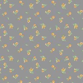 Tiny Yellow Flowers on Grey