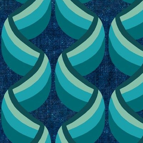 Teal Art Deco Ribbon Columns on Blue Linen Look
