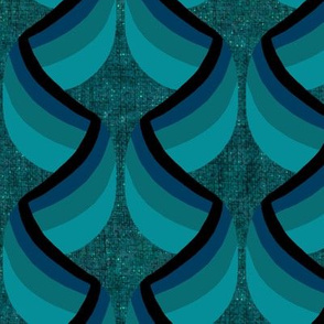 Teal and Black Art Deco Ribbon Column on Teal Linen Look