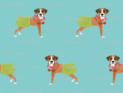 boxer dog hula dancer fabric - hula dog, cute boxer dog fabric, boxers -  blue