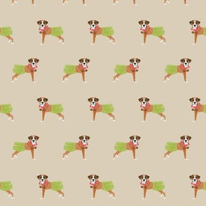 boxer dog hula dancer fabric - hula dog, cute boxer dog fabric, boxers -  tan