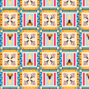 Bold Floral and Geometric Pysanky Style Tiles