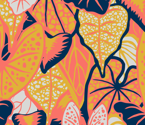 Tropical Foliage (large) - Limited Palette fabric by emmbee-design on Spoonflower - custom fabric