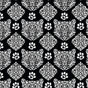 Cat Damask on Black
