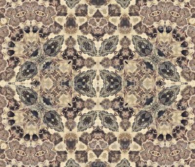 Seamless retro vintage beige brown kaleidoscopic mosaic pattern