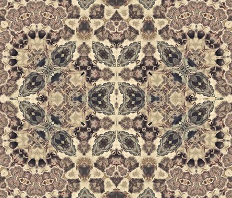 Seamless retro vintage beige brown kaleidoscopic mosaic pattern fabric by fuzzyfox on Spoonflower - custom fabric