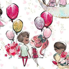 Valentine's Day love balloon moon