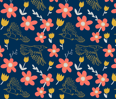 Flying Tui in the Flowers fabric by driessa on Spoonflower - custom fabric