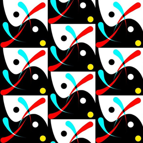 Art Deco Wave - red and turquoise