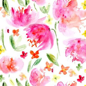 Spring bloom • watercolor floral pattern