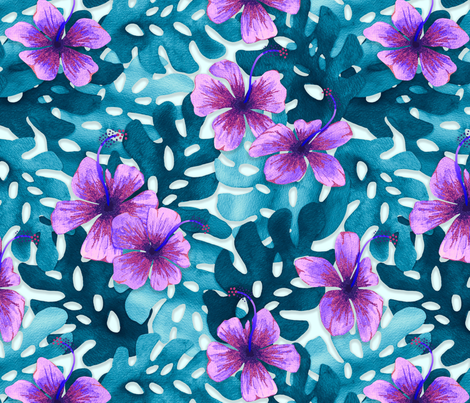 Purple Hibiscus Pattern Small Wallpaper Artlovepassion Spoonflower