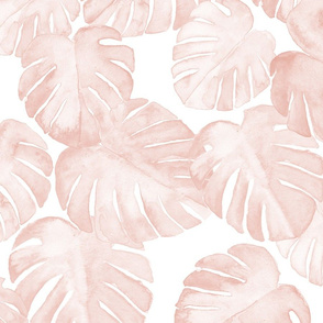 JUMBO SCALE watercolor monstera leaf -  dusty pink
