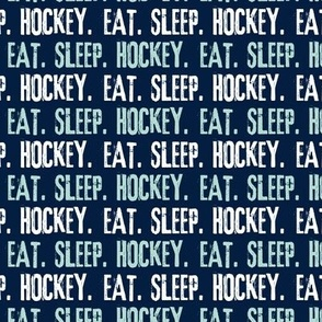 Eat. Sleep. Hockey. - dark mint and white on navy LAD19