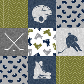 Ice Hockey Patchwork - Hockey Nursery - Wholecloth grey and green - LAD19 (90)