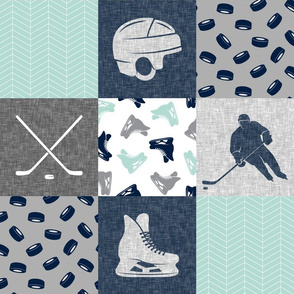Ice Hockey Patchwork - Hockey Nursery - Wholecloth dark mint and navy - LAD19