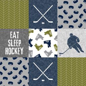 Eat Sleep Hockey - Ice Hockey Patchwork - Hockey Nursery - Wholecloth grey and green - LAD19